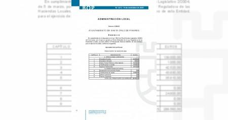 Publicación definitiva Presupuesto 2020