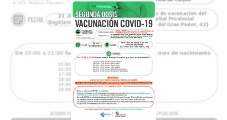 2º DOSIS 21 SEPTIEMBRE NACIDOS 2008, 2009 Y PENDIENTES DE SEGUNDAS DOSIS DE MODERNA