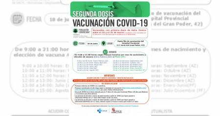 Vacunación 18 de Junio 2ª dosis